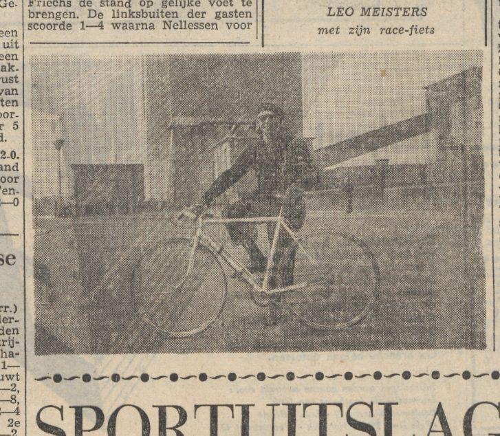 Aankondiging van de deelname van Leo Meisters aan zijn eigen tour. Foto uit het Limburgsch Dagblad van 12 april 1954, met dank aan de Koninklijke Bibliotheek.