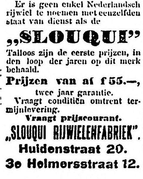 Advertentie van Slouqui, uit Het Volk, 13 juni 1914