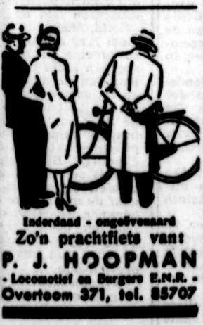 Advertentie van P.J. Hoopman uit 1949 (De Tijd, 23 september 1949)