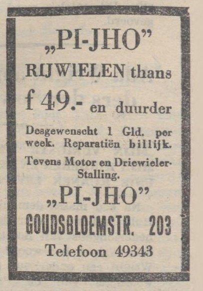 Advertentie van PI-JHO uit 1932 (de Tribune 18 juli 1932)